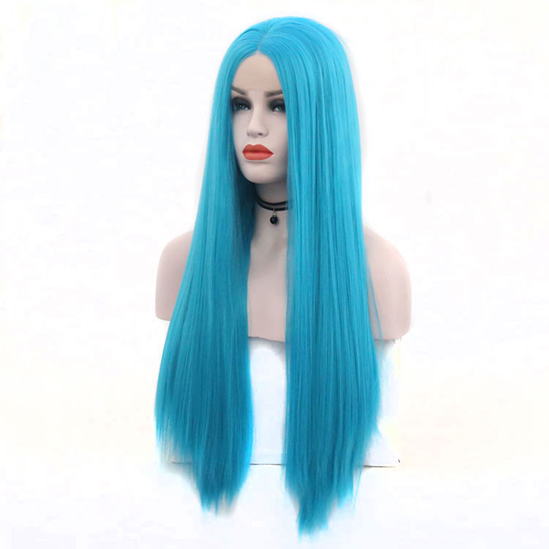 Bombshell Sky Blue Straight Hand Tied Synthetic Lace Front Wig Heat Resistant Fiber Natural Hairline Middle