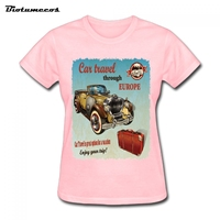 ייחודי חולצות ה-t נשים נסיעות רכב דרך אירופה ליהנות הנסיעה שלך רטרו רכב מודפס חולצת טריקו בגדי מותג עליון טי ליידי WTCC071