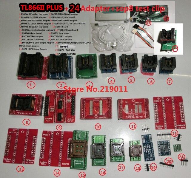 100% oryginalny TL866II PLUS programator + 24 adaptery + zacisk ic szybki AVR MCU Flash EPROM programator wymień TL866A/CS