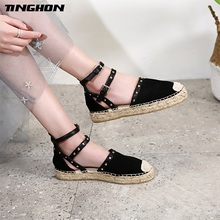 TINGHON Women Buckle Strap Espadrilles Flat Sandals 2018 Summer Rivet Platform Fashion Vacation Beach Shoes