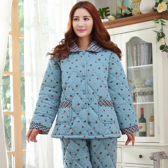 New Three Layer Winter Thick Quilted Pajamas Women Casual Cotton Tracksuit  Long-sleeved Pyjamas Plus b07c429b5