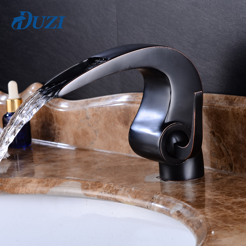 DUZI Bathroom Basin Sink Faucet Single Handle Single Hole Mixer Tap Deck Mount Cold and Hot Basin Sink Mixer Waterfall Taps matte black faucet hole cold and hot water basin faucet basin sink mixer tap brass made single handle single basin crane al 7808