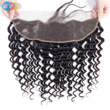 BY Deep Wave HD Ear To Ear Lace Frontal Closure 13x4 Swiss Lace Frontal With Baby Hair 100% Remy Human Hair Natural Color(China)
