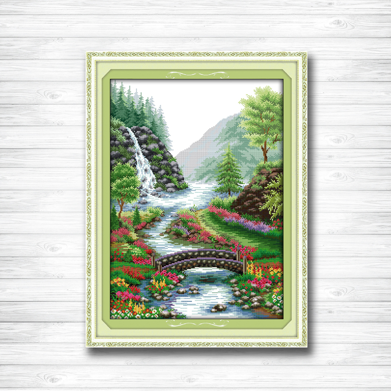 Bridge River Stream natural Scenery dmc 14CT 11CT counted cross stitch Needlework Set Embroidery kits chinese cross stitch