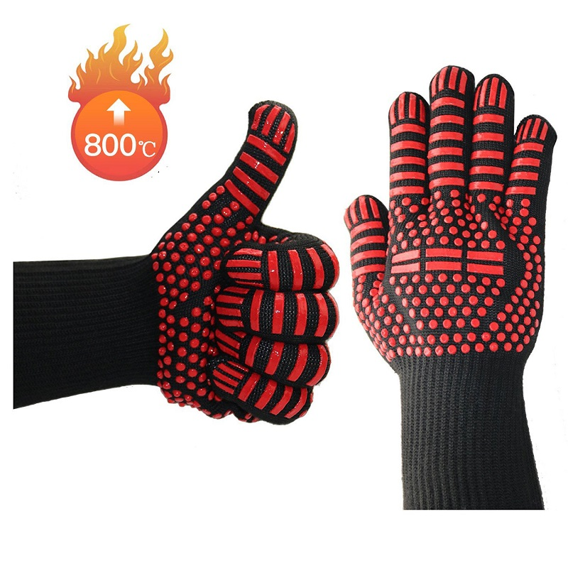 1 Pair Heat Resistant Thick Silicone Cooking Baking Barbecue Oven Gloves Multi Purpose Grilling Oven Mitt Kitchen BBQ Gloves in Oven Mitts Oven Sleeves from Home Garden