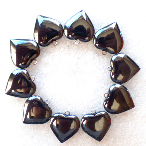 (10 pieces/lot) Wholesale Natural Hematite Heart Pendant Bead 22x19x5mm Free Shipping Fashion Jewelry Z4871