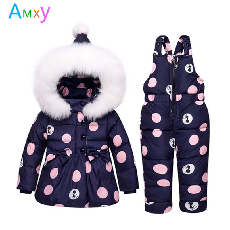 AIMEIXIUYI Baby Clothing Set Infant 80% White Duck Down Jacket+Jumpsuit Winter Snowsuit For Girls Kids Ski Suit Winter Overalls 2016 winter boys ski suit set children s snowsuit for baby girl snow overalls ntural fur down jackets trousers clothing sets