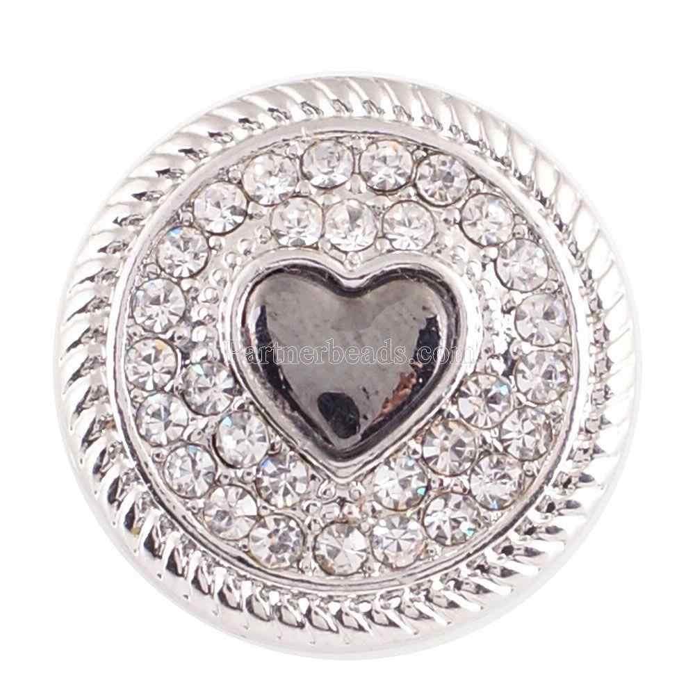 ออกแบบใหม่คุณภาพสูงคริสตัล 18 มิลลิเมตร Love Heart Snap buckle สำหรับวันวาเลนไทน์ 18 มิลลิเมตร snap สร้อยข้อมือสร้อยคอผู้หญิง
