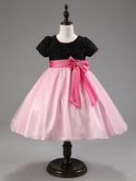 الأزياء خليط كاب كم بنات الأسود و الوردي حزب اللباس الاطفال للحزب و الزفاف