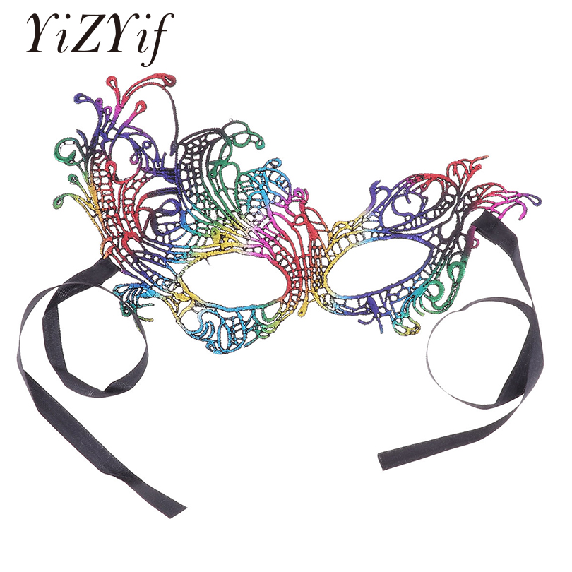 YiZYiF Unisex helloween Mask Shiny masque sexy Lace Eye Mask Classic Ultralight Goddess Venetian Masquerade Cosplay Party Mask