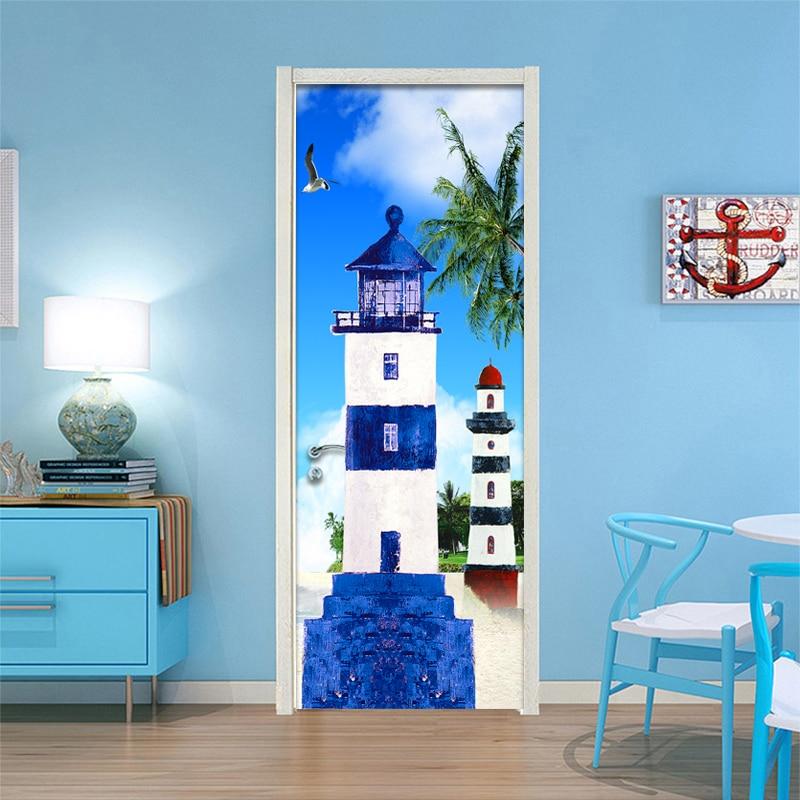 3D Wallpaper Cartoon Castle Kids Bedroom Door Mural PVC
