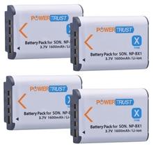 PowerTrust 4Pcs NP-BX1 NP BX1 NPBX1 Camera Battery for Sony DSC-RX100 DSC-WX500 HX300 WX300 HDR AS100v AS200V AS15 AS30V AS300