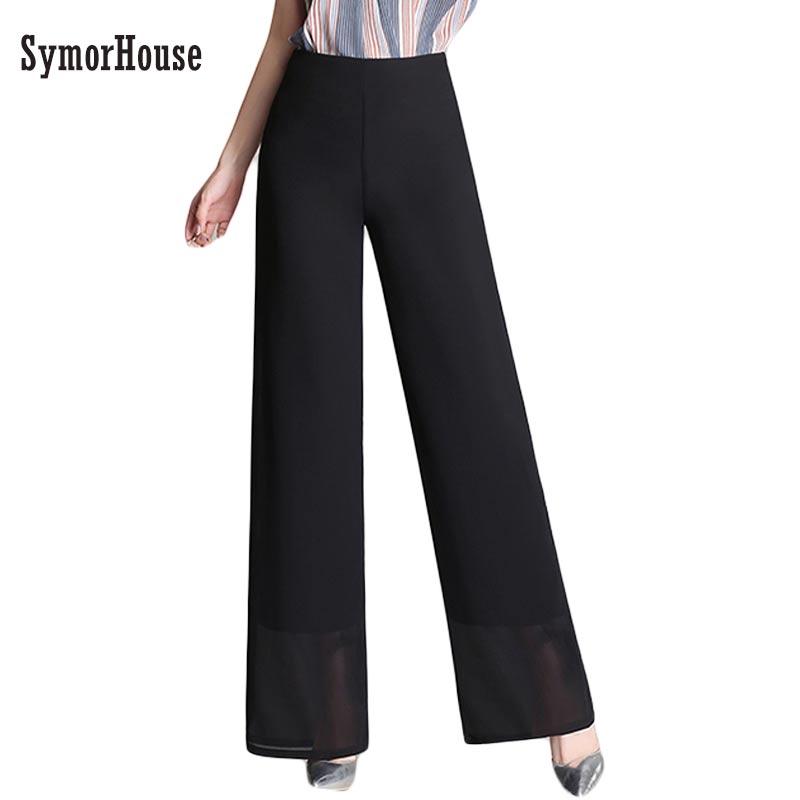 2019 New Arrival European Style Plus Size 4XL Women Trousers Casual Loose Chiffon Long   Pants   Black   Wide     Leg     pants   female
