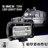 2PCS 5inch 72W LED Light Bar Spot Beam Work Light Driving Fog Light Road Lighting For