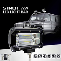 2PCS 5inch 72W LED Light Bar Spot Beam Work Light Driving Fog Light Road Lighting For