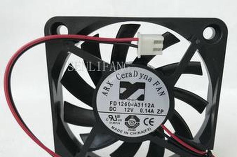 For ARX FD1260-A3112A DC 12V 0.14A 2-wire 60x60x10mm Server Square Fan