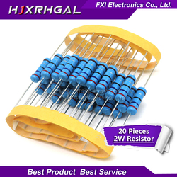 20 peças 2 w resistor de filme de metal 1% 1r ~ 1 m 2.2r 4.7r 10r 22r 47r 100r 220r 470r 1 k 10 k 100 k 2.2 4.7 22 47 100 220 470 ohm