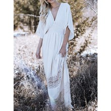 2019 Bohemian Women Lace Hollow Out Maxi Dress 2019 Summer V-Neck Empire Beach Party Dress Short Solid Long A-Line Dresses цена и фото