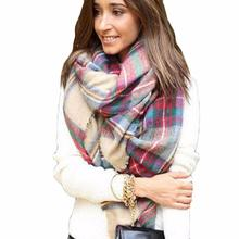 Stylish 2015 Winter 175x75cm Wool Blend Blanket Oversized Tartan Scarf Women Wrap Shawls and Scarves Plaid Pashmina for lady