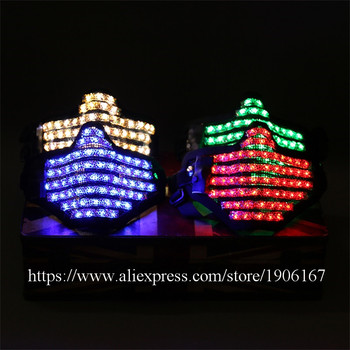 Colorful Led Luminous Mask Night Club Show Illuminate Flashing Halloween Masquerade Party Christmas Masks Performance Dancewear