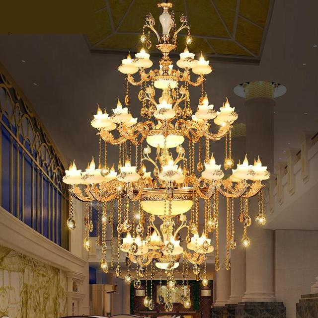 Luxury Villa Three Layer Crystal Chandeliers Lamp Led Lamp Lamp European Multi-storey Hotel Project Ceiling Chandelier