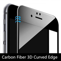 9H Carbon Fiber 3D Curved Edge Coated Colorful Tempered Glass For iPhone 7 plus 6 6S 6Plus Phone Screen Protector Glass Film