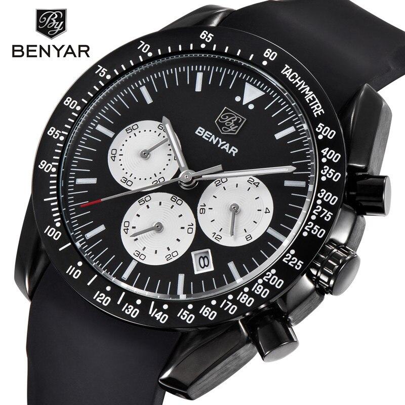 где купить 2018 NEW BENYAR Brand 30M Waterproof Quartz Chronograph Watch Men Sports Watches Army Military Watch Man Clock Relogio Masculino по лучшей цене