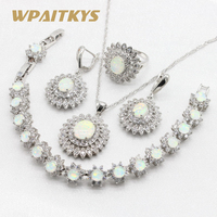 925 Silver Jewelry Sets Australia White Fire Opal for Women Bracelet Necklace Pendant Earrings Rings Gift Box