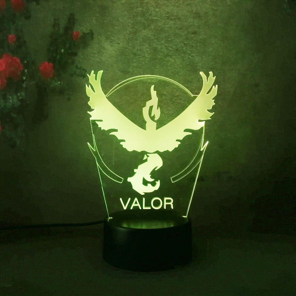 New 2018 Valor Pokemon Go Game Childrens Day Collection Team Team 3D Visual Table 7 Color Change Lamp Toys Child Best Gifts