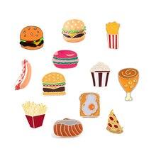 Enamel Pins Badges Pizza Hamburger Chicken-Leg Fries Fast-Food-Brooch Lapel French Cartoon