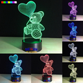 The balloon teddy bear 7 color 3D LED Night Light All Colors Flash In Turn and gift to friend