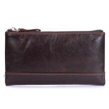 Vintage männer Echte Leder Brieftaschen Männlichen Rindleder Retro Telefon Kupplung Mann Freizeit Natürliche Leder Multifunktionshandtasche MS9047