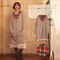 2016 Autumn Winter Solid Peter Pan Collar Plaid Long Dresses Women Mori Girl Cute Knitted Lace Cotton All Match Dress D025
