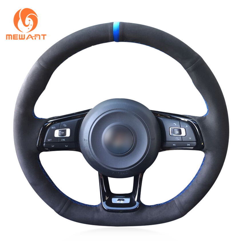 MEWANT DIY Car Steering Wheel Cover Black Suede for Volkswagen VW Golf 7 GTI Golf R MK7 VW Polo GTI Scirocco 2015 2016 1pair 43cm 3color set abs chrome headlight front light lamp eyelids cover trim for vw golf 7 gti mk7 page 2
