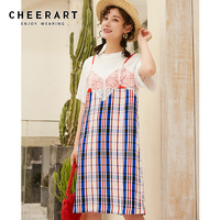Cheerart Plaid T Shirt Dress Summer Lace Patchwork Casual Dress Women Knee Length Short Sleeve Sundress 2019
