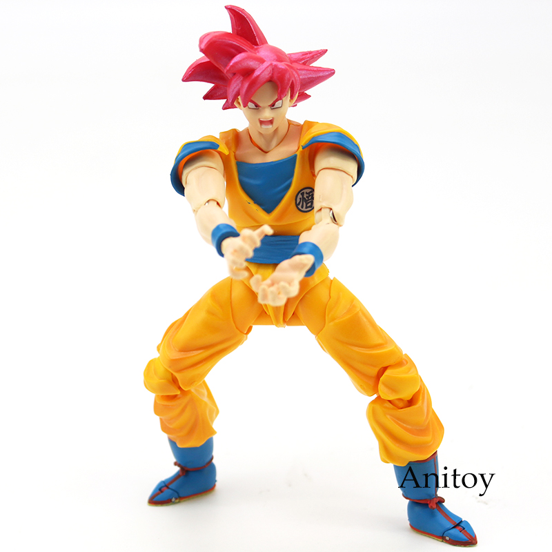 Image 3 - SHF Dragon Ball Super Saiyan God Son Goku Red Hair Gokou Dragon Ball PVC Action Figure Collectible Model Toy 15cm-in Action & Toy Figures from Toys & Hobbies