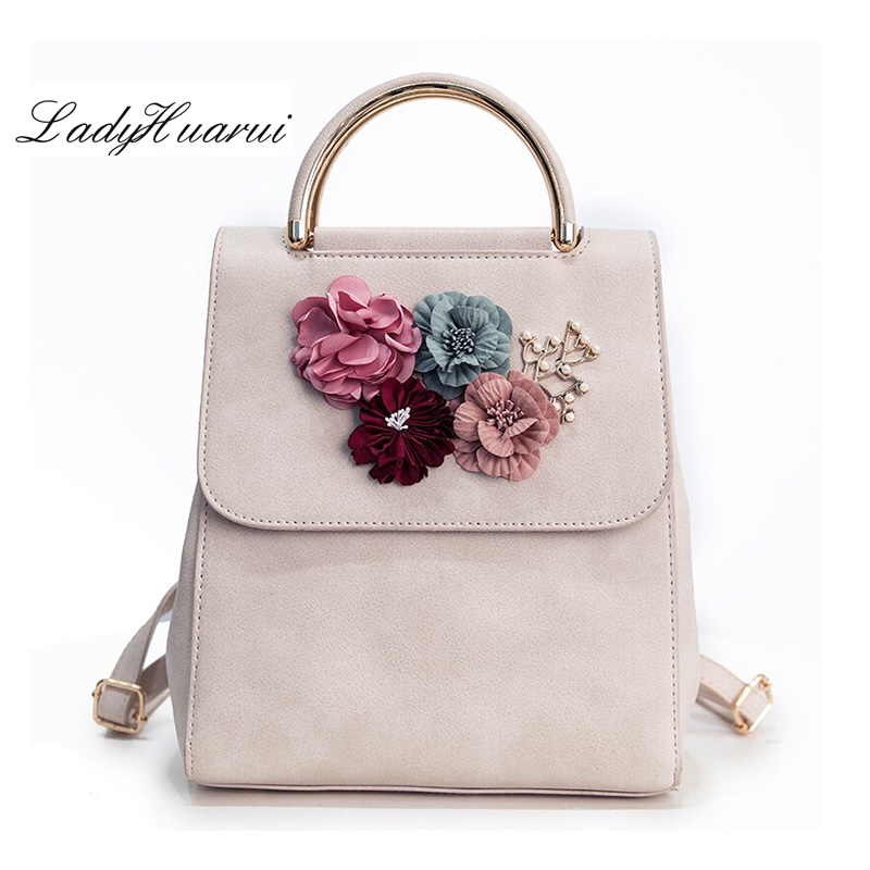Brand Leather Women Backpack Female Japan and Korean Style Trend Three-dimensional Flower Shoulder Bag Women's Backpack Q2 бокорез three mountain in japan sn130 3 peaks