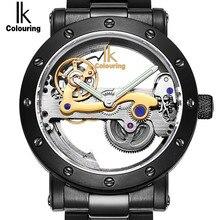 IK färbung Hohl Skeleton Automatische Mechanische Uhren Herren Top-marke Luxus Geschäfts Voller Stahl Gewinner Armbanduhr Clock Hour