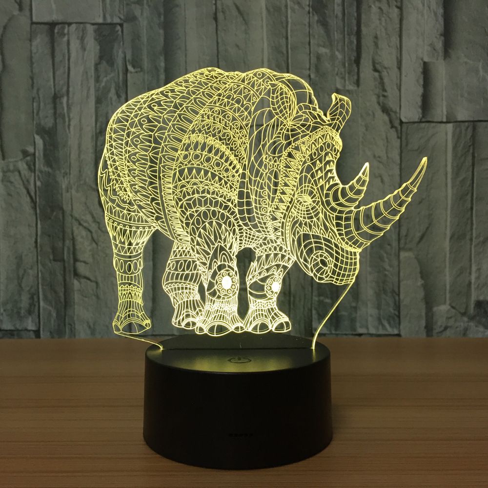 Novelty 3D Animal Rhinoceros Night Light LED Illusion Lamp USB 7 Colors Change Touch Lighting Bedroom Decor Kids Gifts nfl 3d light touch led lamp 7 colors dallas cowboys 3d sleeping led light lampara acrylic usb 3d nightlight 3d kids night light