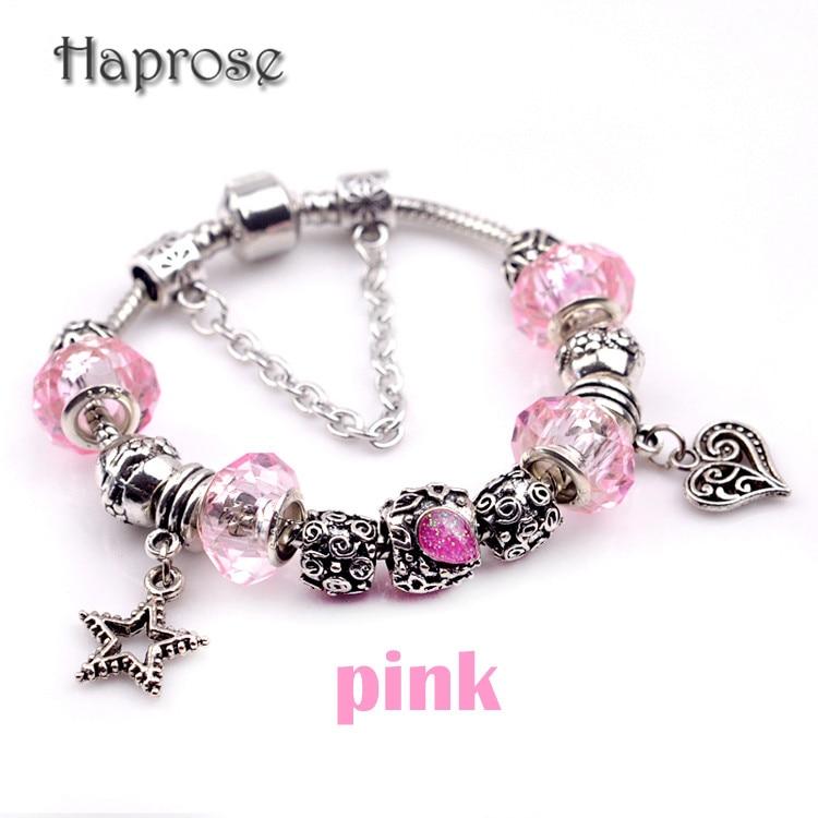aede52f388b0 Moda Rosa joyería Europea agujero grande flor romántica Amuletos Pulseras y brazaletes  para las mujeres pulsera de cadena de la serpiente al por mayor
