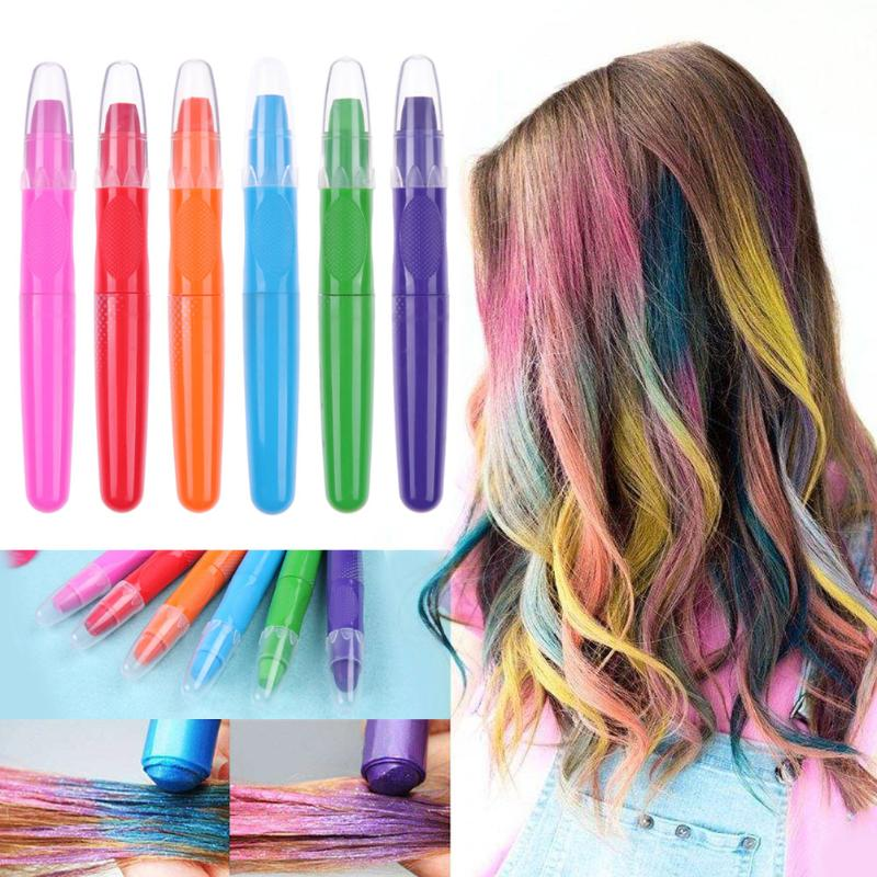 US $1.5 22% OFF|1pcs Portable Colorful Hair Chalk Disposable Hair Color  Pens Temporary Hair Dye with 6 Different Colors Suitable for Adolescent-in  ...