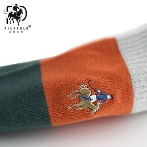 Image 4 - PIER POLO Calcetines de algodón para hombre, calcetín informal, bordado de negocios, Multicolor, 5 pares, venta al por mayor