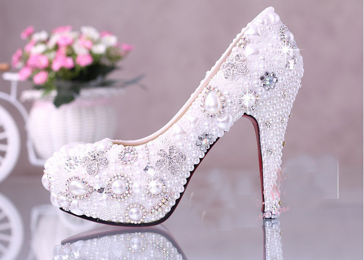 10cm Super High Heel White Wedding Dress Shoes Luxurious Elegant Wedding Bridal Shoes with Imitation Pearl Party Prom Shoes fashion white lady peep toe shoes for wedding graduation party prom shoes elegant high heel lace flower bridal wedding shoes