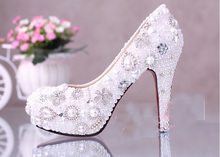 10cm Super High Heel White Wedding Dress Shoes Luxurious Elegant Wedding Bridal Shoes with Imitation Pearl  Party Prom Shoes