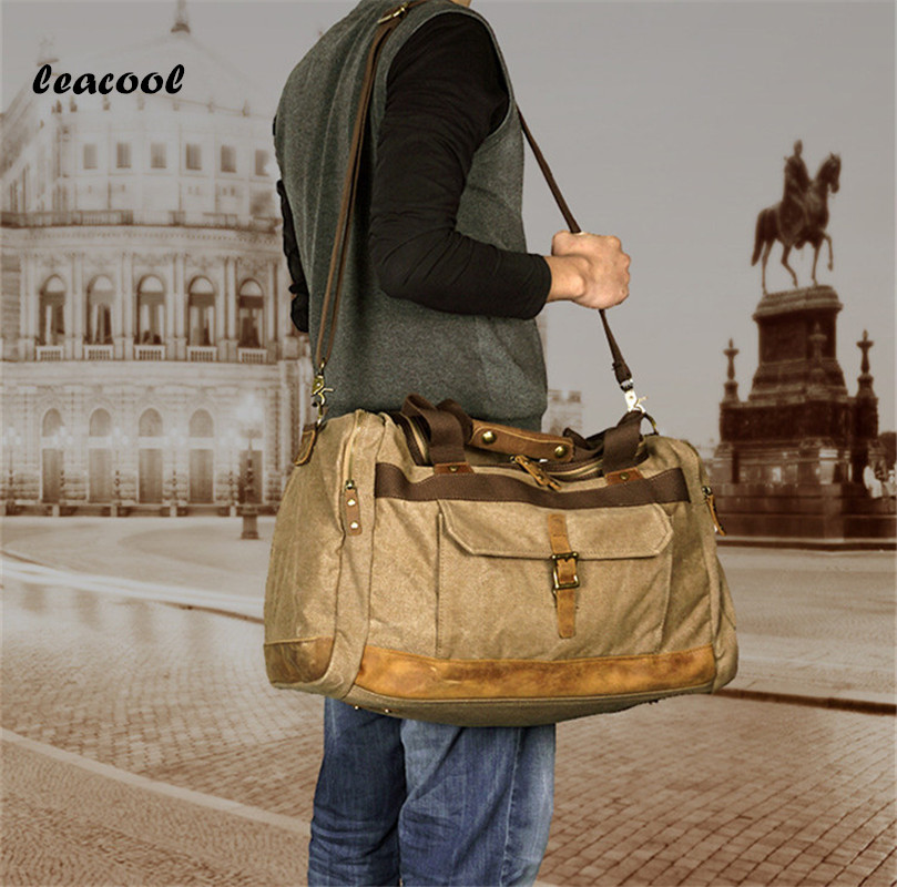 LEACOOL Canvas Leather Men Travel Bags Carry on Luggage Bags Men Duffel Bags Travel Tote Large Weekend Bag Overnight augur new canvas leather carry on luggage bags men travel bags men travel tote large capacity weekend bag overnight duffel bags