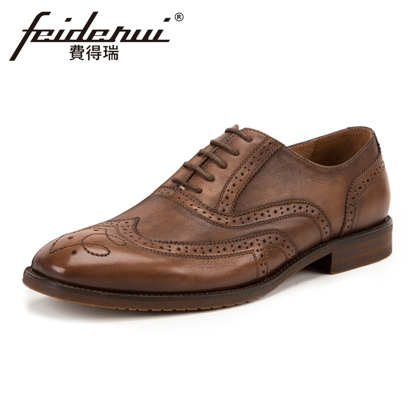 Vintage Handmade Genuine Leather Men's Oxfords Round Toe Lace-up Man Wingtip Prom Flats Formal Dress Wedding Brogue Shoes KUD103 good quality men genuine leather shoes lace up men s oxfords flats wedding black brown formal shoes