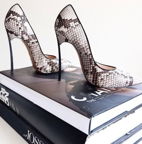 Hot Selling New Snake Print Leather Pointed Toe Blade Heel Pumps Sexy Python Metal Heel Women Dress shoes woman Size 34-41 Fre