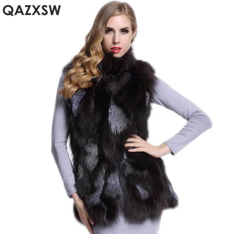 Nouveaux Féminine Lh1319 Mode Veste Réel Sans Fourrure Vraie 2019 Renard Fox De Manches Qazxsw Manteaux Hiver La Femmes En Silver cp8ZHWaqwx