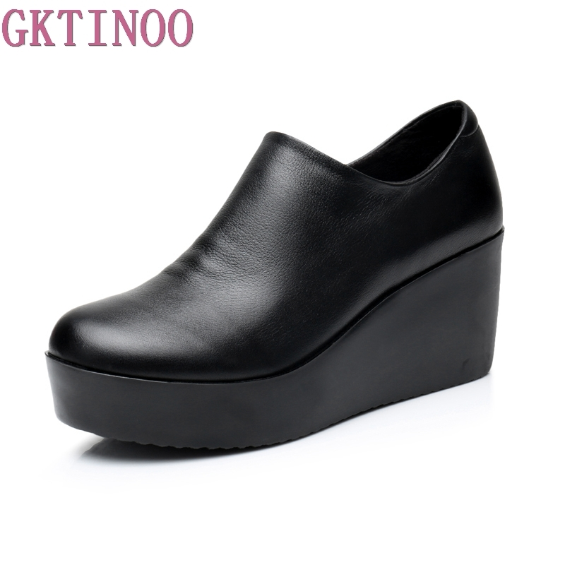 цена на 2018 Wedges Women Shoe Spring Autumn Slip-On High Heels Round Toe Genuine Leather Casual Ladies Platform Shoes Woman