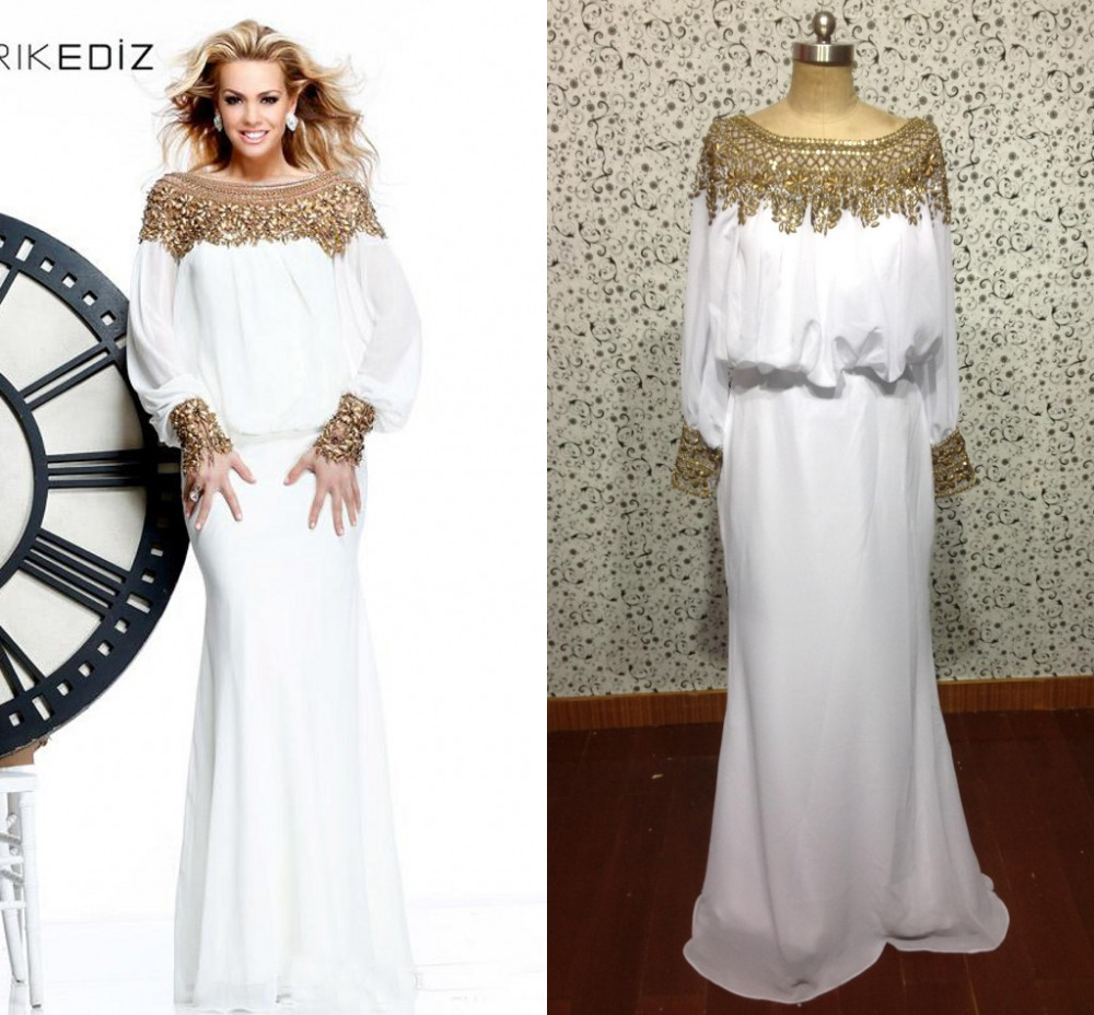 Long Sleeves 2016 White evening gowns Arabic Chiffon Gown With Gold ...